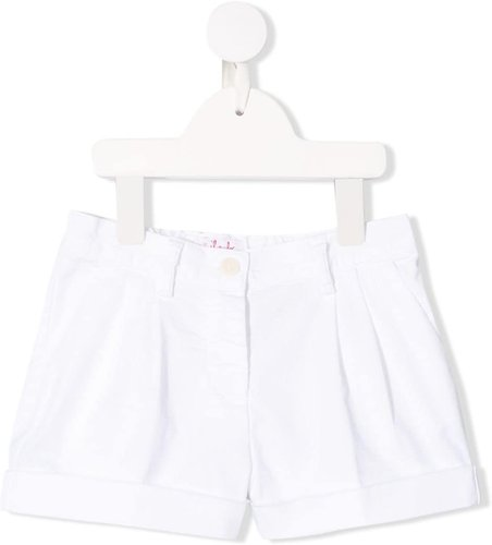 pleated detail shorts - White