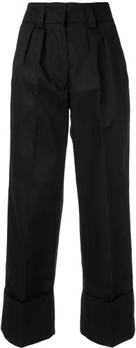 pleated cuffed trousers - Black