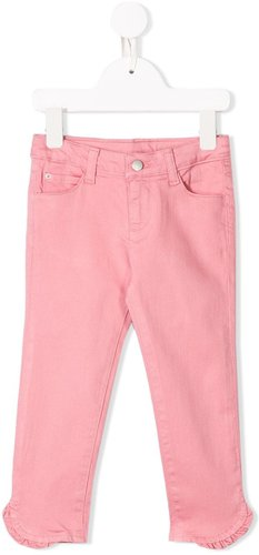 slim-fit ruffled trousers - PINK