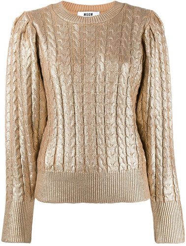 metallic knitted jumper - GOLD