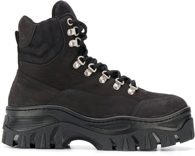 lace-up tractor boots - Black