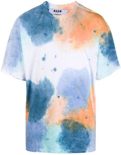 water colour-print oversized T-shirt - White