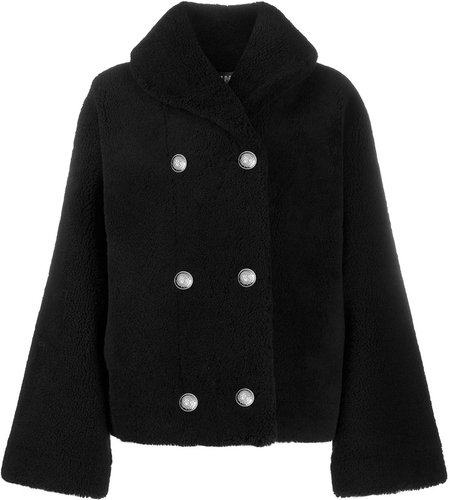 fluffy double-breasted coat - Black