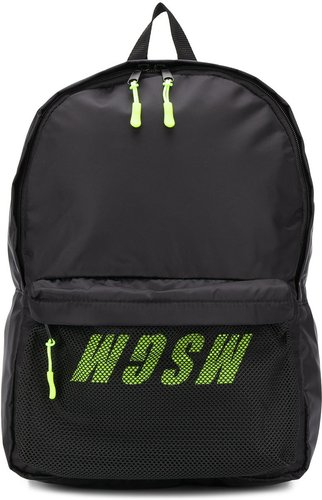 mesh-panel logo-print backpack - Black