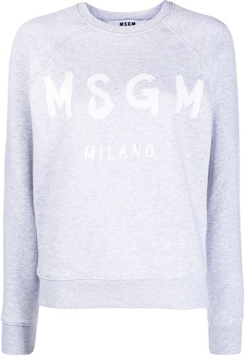 logo print crew neck sweater - Grey