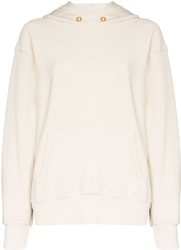 cropped cotton hoodie - White