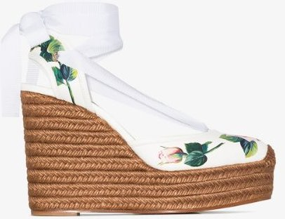 white 90 floral leather espadrille wedge sandals