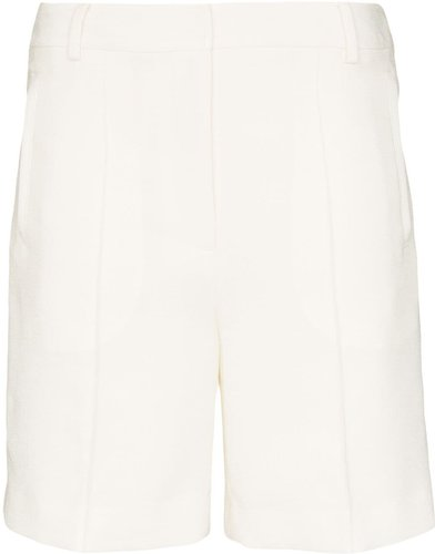 high-waisted long shorts - White
