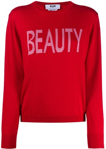 Beauty intarsia-knit jumper - Red