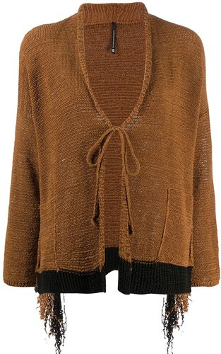 front-tied fitted cardigan - Brown
