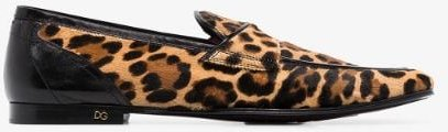 brown Erice leopard print calf hair loafers