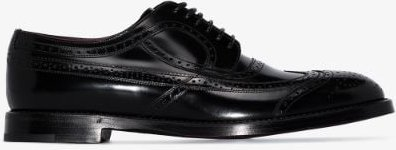 black brushed leather brogues