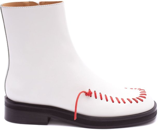 contrast stitch ankle boots - White