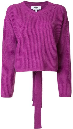 ribbed knit back-tie jumper - PURPLE