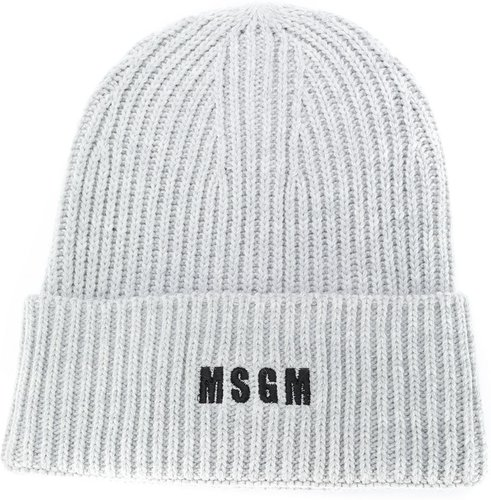 logo-embroidered ribbed knit beanie - Grey