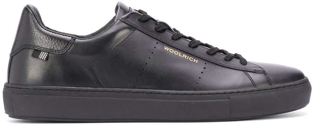 low-top leather sneakers - Black