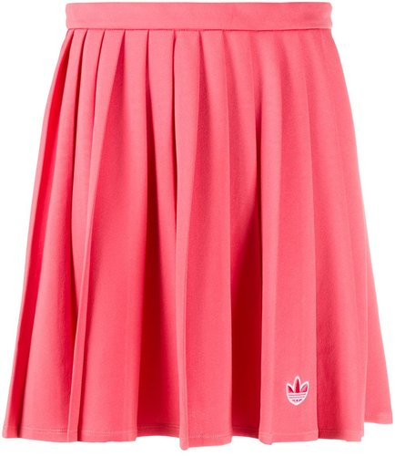 embroidered logo pleated skirt - PINK