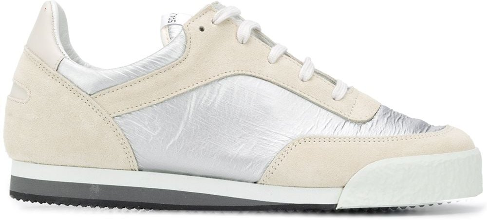 metallic panel lace-up trainers - White