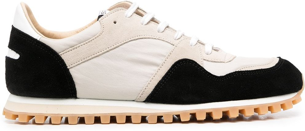 suede-panelled lace-up trainers - Black