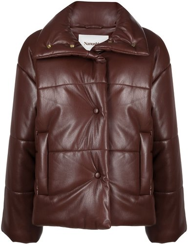 faux-leather padded coat - Brown