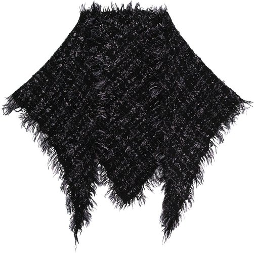 two-tone knitted scarf - Black