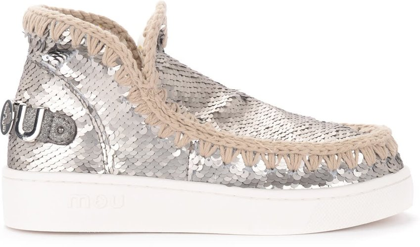 Summer Eskimo Ankle Boots In Gunmetal-colored Sequins