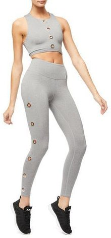 High Waisted Take Charge Crop Legging Heather Grey001, Size 1