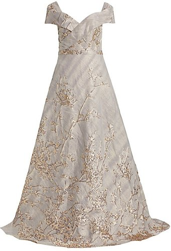 Off-The-Shoulder Fil Coupé Sequin Ball Gown - Pewter - Size 2