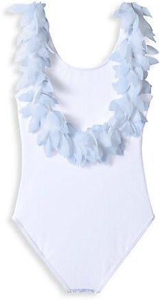 Little Girl's & Girl's One-Piece UPF 50+ Pedal Tank Swimsuit - White - Size 10