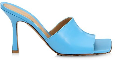 Stretch Leather Mules - Sky Blue - Size 36.5 (6.5)