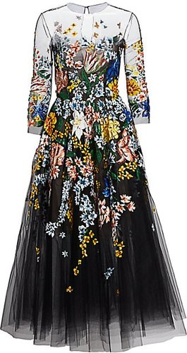 Floral-Painted Tulle Cocktail Dress - Black - Size 4