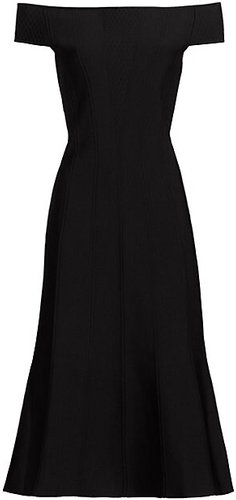 Ottoman Corset Knit Midi Dress - Black - Size Small
