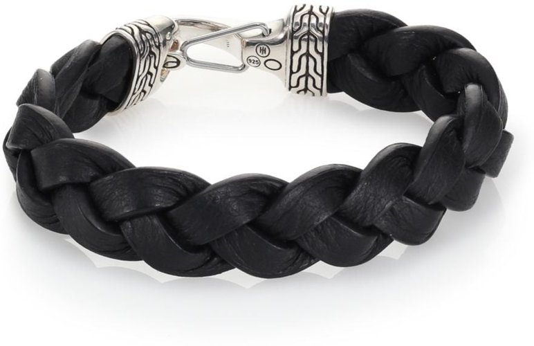 Classic Chain Sterling Silver & Leather Braided Hook Bracelet - Black Silver - Size Medium