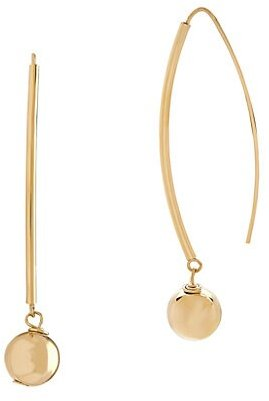 14K Yellow Gold Polished Tube Drop Earrings