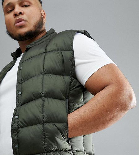 4505 Plus packable vest with quilting in khaki-Green