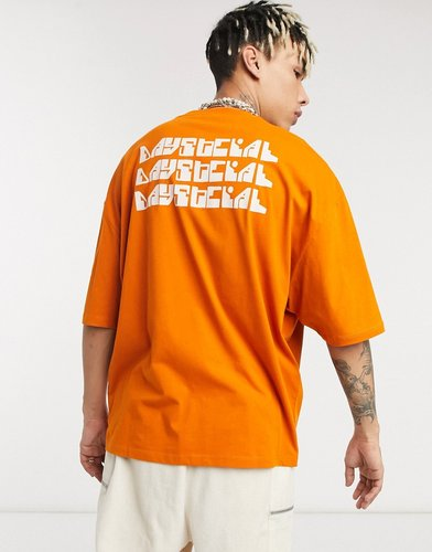 ASOS Daysocial oversized t-shirt with repeat back logo print in orange