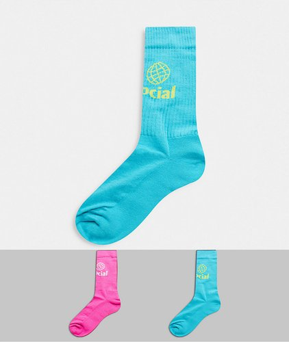 ASOS Daysocial sport socks with logo in bright colors 2-pack-Multi