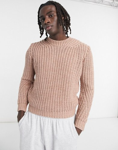 chunky knit boxy sweater in light pink