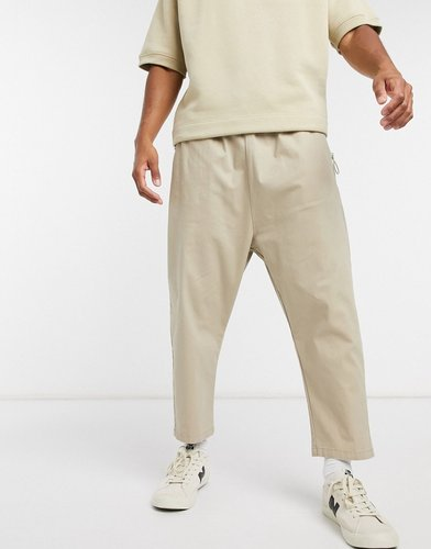 drop crotch chinos in beige