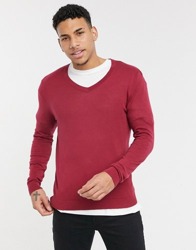 midweight cotton v neck sweater in raspberry-Red