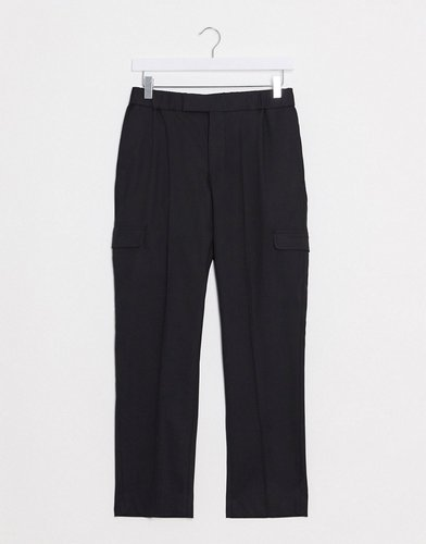 smart skinny pants in black with cargo pockets and elasticated waist