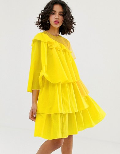 rip stop extreme frill dress-Yellow