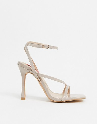 strappy square toe heeled sandals in beige