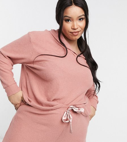 New Look Curve lounge coordinating soft ribbed hoodie in pink