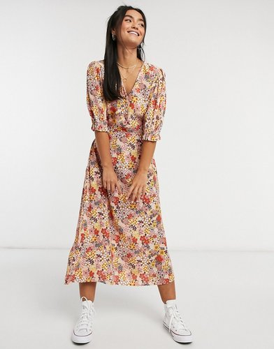 midi dress with button and back bow detail in 70s flower print-Multi