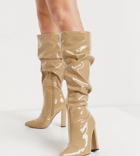 Yours slouchy knee boots in camel patent-Beige