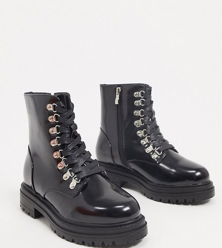 Sofia flatform boots with eyelet detail in black