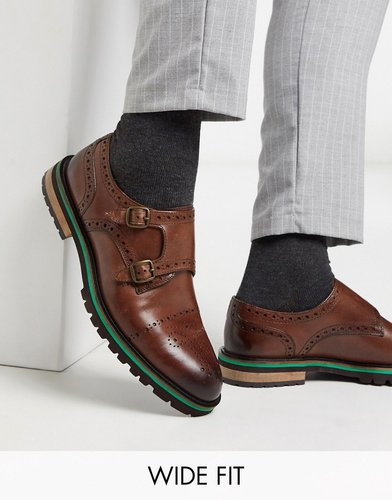 wide fit hanson monk shoe in brown leather