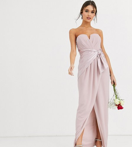 Bridesmaid bandeau maxi wrap dress with satin front detail in taupe-Brown