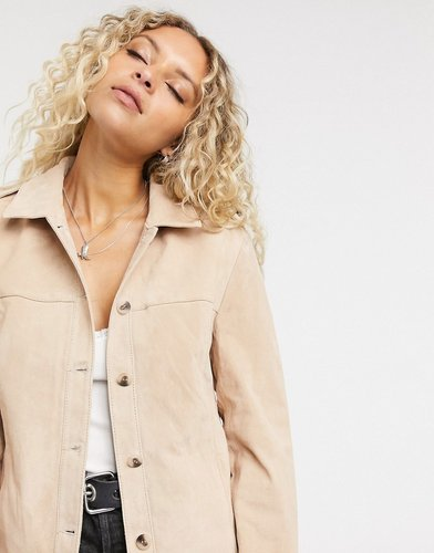 oversize real suede overshirt in tan
